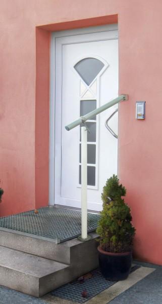 GAE1 Alu weiß/Edelstahl Geländerset für Eingang